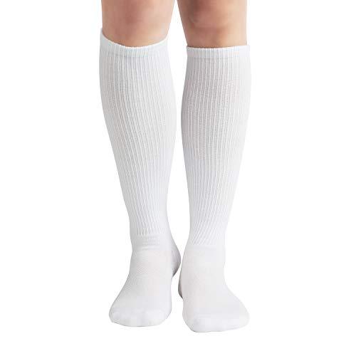 +MD 6Pairs Bamboo Moisture Wicking Compression Socks 8-15 mmHg for Women Knee High Socks 9-11 White