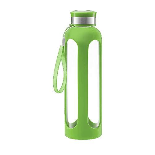 Swig Savvy–Botella de agua de cristal 20oz/32oz resistentes a la rotura de vidrio borosilicatado + Funda protectora de silicona sin BPA. Elegante y resistente., Verde