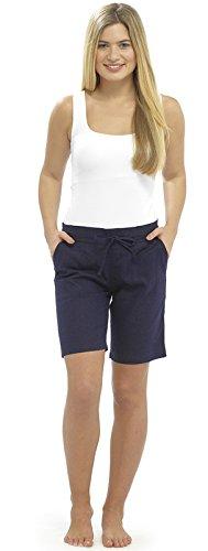 Lora Dora Damen Shorts aus Leinenmischung mit Gerippter Taille - Navy Size EU 46