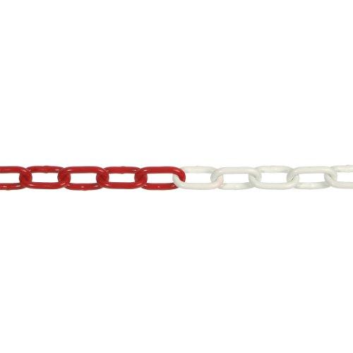 pewag Rundstahlkette DIN 5685, gerade 5 x 35, galvanisch verzinkt, rot/weiß kunststoffbeschichtet, 89692