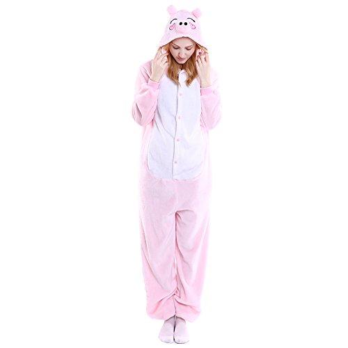 LSERVER Erwachsenen Tier Pyjama Jumpsuit Cosplay Unisex Pyjamas Outfit Onesie Nacht Kostüm, Rosa Schwein, M (empfohlene Höhe 156-164 cm)