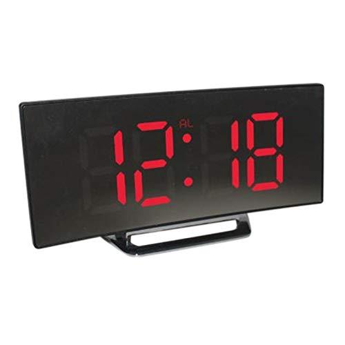 Heritan Despertador digital LED espejo reloj multifunción Snooze visualización hora noche luz LCD mesa escritorio escritorio