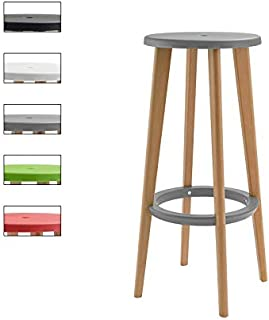 Wood Bar Stool Grey PP Breakfast Kitchen Bar Stool Seat Chairs Solid Wood Legs Barstools with Footrests (Size : 76cm)