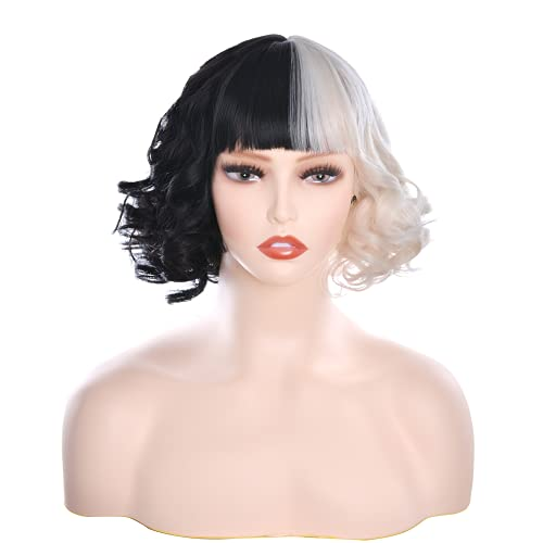Wxypreey Cosplay disfraz peluca pelucas blancas y negras con flequillo + gorro de peluca