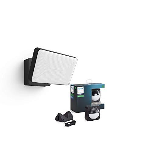 Philips Hue Welcome Proyector exterior con Sensor para exterior incluido , luz blanca cálida regulable, compatible con Amazon Alexa, Apple HomeKit y Google Assistant