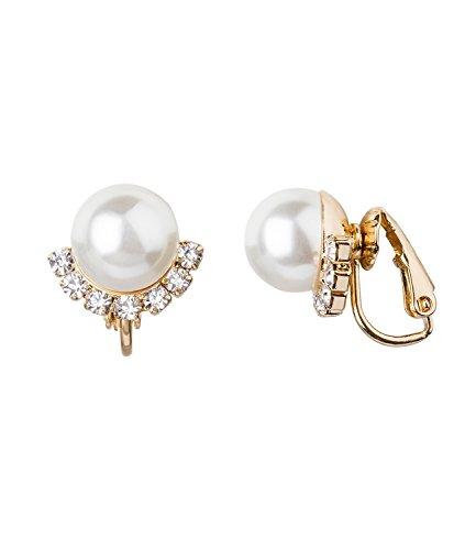 SIX Funkelnde Perlen-Ohrclips für Damen: Ohrringe mit Kunstperlen in goldener Fassung, zur Hälfte in glitzernden Strasssteine eingefasst, oh (434-374)