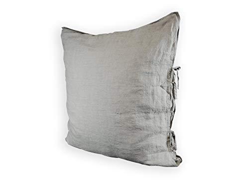 beties Leinen Kissenbezug ca. 80X80 cm mit Hotelverschluß 100% Leinen im Stone - Washed Design Kissenhülle Kopfkissenbezug in der Farbe Taupe