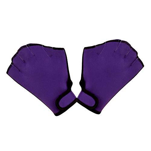 Geekercity Aquatic Fit Swim Training Gloves, Aqua Webbed Swimming Gloves, Neoprene Diving Water Resistance Training-Exercise Fitness Gloves, Sizes for Men Women Adult Children (Purple, M)