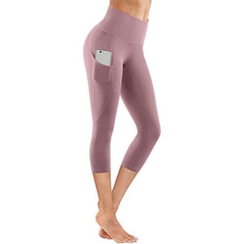 SHINEHUA Damen Short Sport Leggins Hohe Taille Tights 3/4 Yogahose Blickdichte Kurz Laufhos Fitness Hosen Jogginghose mit Taschen