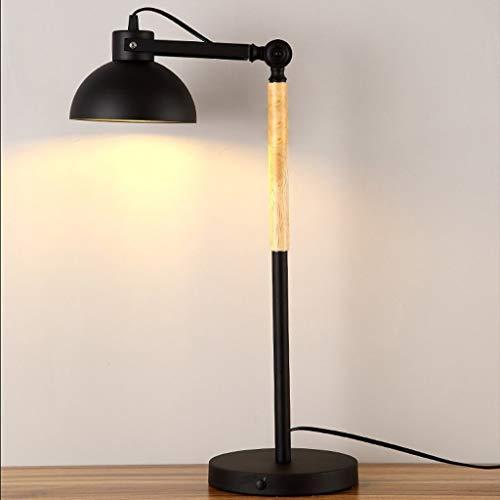 GUOCAO Luz Lámparas de mesa, personalidad simple American Iron Cafe luces de la sala dormitorio Den creativa lámpara de cabecera, luz de la noche de lectura Negro, blanco Mesa (Color : Black)