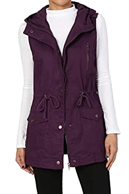 TheMogan Women's Military Drawstring Waist Loose Fit Utility Hoodie Vest Dark Purple S by