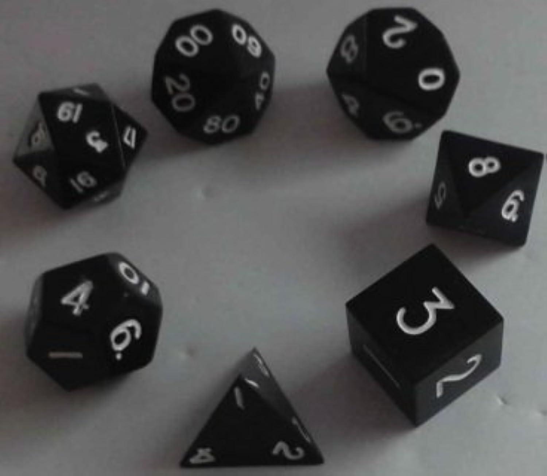 Metal Dice Polyhedral Set of 7 die (7) Black