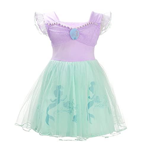 Lito Angels Disfraz de Sirenita Princesa Ariel para Bebe Niñas, Sirena Vestido de Tul Falda Tutu de Fiesta de Cumpleaños, Talla 18-24 Meses, Morado 265