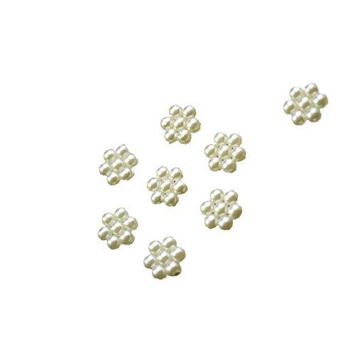 IUwnHceE Acrílico Flor de la Perla de Flatback de los Adornos de Bricolaje La Mitad de los Granos de la Parte Posterior Plana Perla Perla 9mm Color Marfil 50pcs Multifuncional Accesorios electrónicos