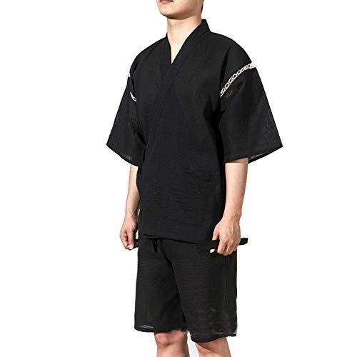 Traje de Estilo japonés Jinbei de los Hombres de Jinbei Vestido de los Pijamas de Kimono tamaño XL-A10