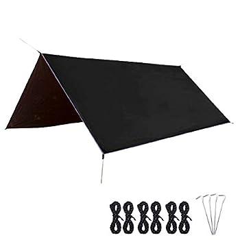 Azarxis Bâche de Camping Tarp 3 x 3 m Tapis de Sol Bâche de Tente Parasol Anti-UV Abri de Soleil Couverture Auvent Imperméable pour Hamac Randonnée (Noir)