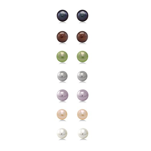 Gem Stone King A Set Of 7 Pairs Of 7mm Cultured Freshwater Pearl Stud Earrings Set In Sterling Silver
