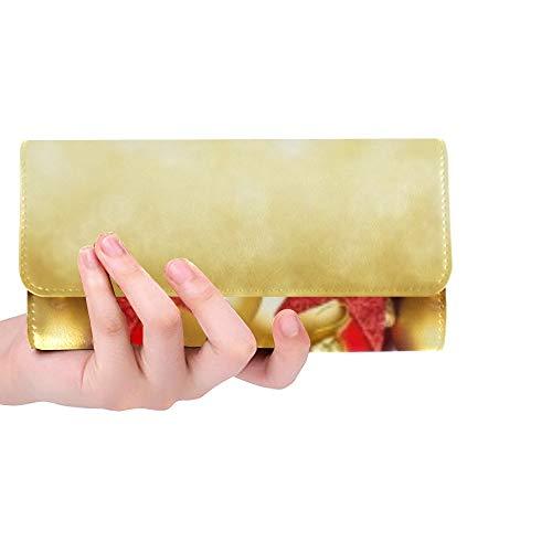 Unique Custom Christmas Garland Super Wide Panorama Banner Women Trifold Wallet Long Purse Credit Card Holder Case Handbag