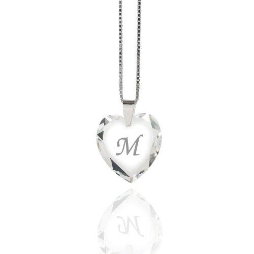 """Damen Halskette 925 Sterling Silber mit SWAROVSKI ELEMENTS Herz Crystal Buchstabe\"""" M\"""""""