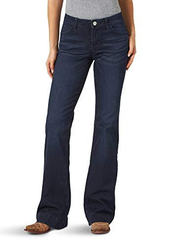 Wrangler Women's Retro Mae Mid Rise Wide Leg Trouser Jean, Dark Blue, 13W x 32L