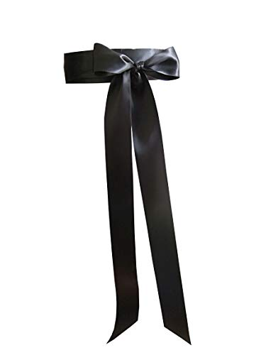 "Leimandy 2"" Wide Simple Classic Colorful Ribbon Sash for Dress Formal Wedding Dress (Black)"