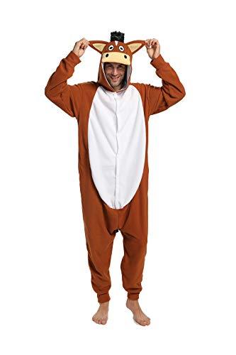 dressfan Onesie Adult Unisex Dier Onesie Paard Halloween Kostuum Cosplay Kerst Kostuum
