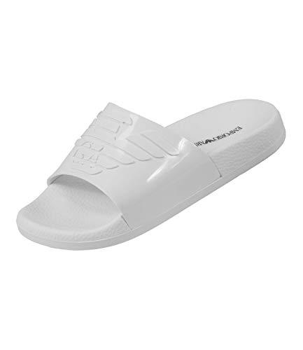 Emporio Armani Damen Badeschuhe Badelatschen Slipper Metallic XL825-X3PS02, Farbe:Weiß, Schuhgröße:EUR 39, Artikel:-00152 Optical White