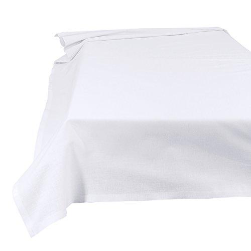 SHC Textilien Betttuch Bettlaken Haustuch Tischdecke 100% Baumwolle 200 x 250 cm weiß