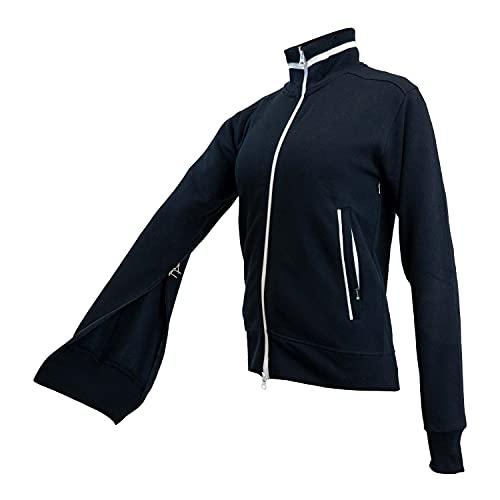 sporthoch2 REHAmed Dialyse - Chaqueta para mujer con cremallera multidireccional en mangas y parte delantera - Chaqueta con cuello alto y bolsillos exteriores azul marino/blanco M