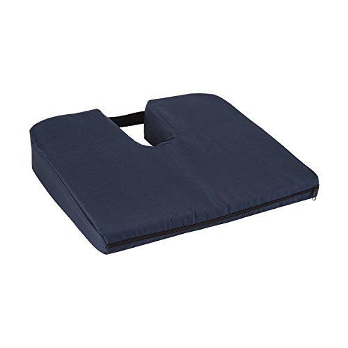 DMI Sloping Seat Cushion for Coccyx Support and Better Posture with Cover, Navy