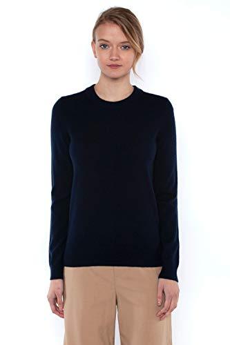 JENNIE LIU Women's 100% Cashmere Long Sleeve Pullover Crew Neck Sweater Navy Medium