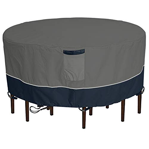Outdoor Round Patio Table and 6 Chairs Set Cover, Heavy Duty Waterproof 600D Large Furniture Set Cover for All Weather Protection