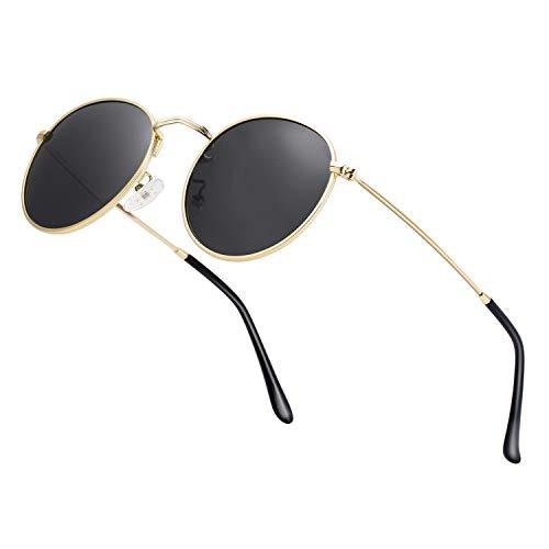 HTMS Gafas de sol polarizadas pequeñas y redondas, estilo retro, para hombres y mujeres, con lentes de espejo y marco de metal