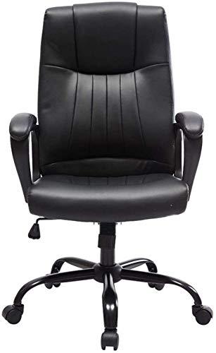DFJU Cadeira de escritório Cadeira de estudo doméstico de elevação de Couro Artificial giratório almofada de Esponja Peso 200 kg Preto Relaxar Completamente (Cor: Preto)