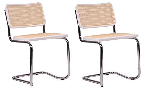 Pemora JENA - Set di 2 sedie a dondolo impilabili, per sala da pranzo, con intreccio Vienna, colore: Bianco