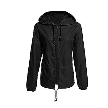 KOKOW Waterproof Raincoat for Women Lightweight Outdoor Hooded Windbreaker Adjustable Drawstring Quick-Drying Rain Jackets