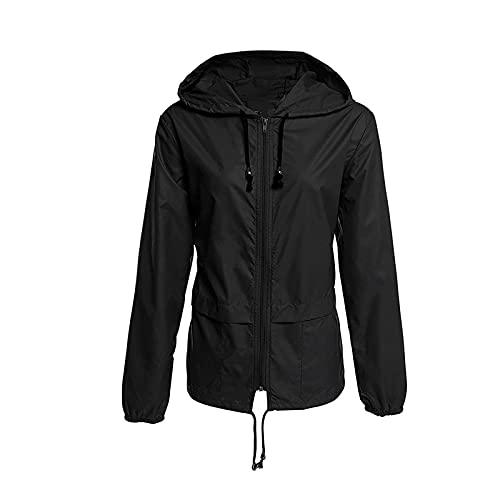 BIBOKAOKE Veste de sport pour femme - Décontractée - Couleur unie - Fermeture éclair - Avec capuche - Imperméable - Coupe-vent - Pour l'automne et l'hiver M Noir38.