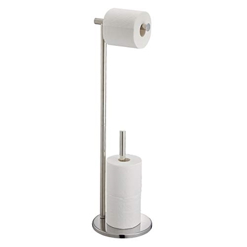 Naturous ZJJ09 Toilet Paper Holder Stand with Reserve, Stainless Steel Tissue Roll Holder Free Standing for Bathroom