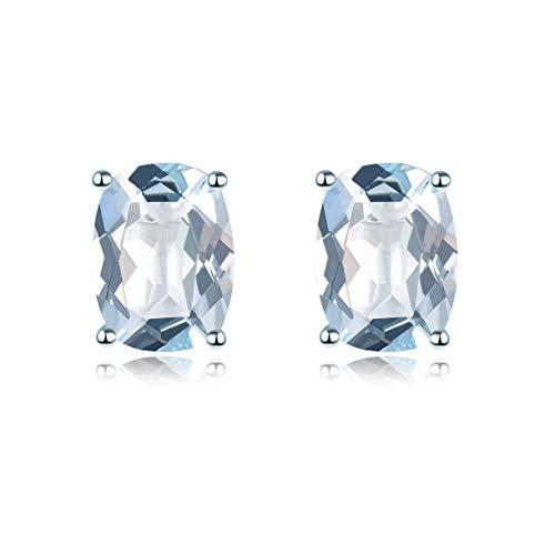 Hutang joyería sólida plata de ley 9252.21ct natural aguamarina cojín 8x 6mm pendientes de tuerca Gemstone Fine joyería de las mujeres regalo