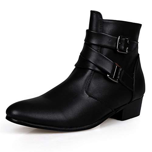 Stiefeletten Männer Frühling Herbst Spitz Zehenhöhe Erhöhen Männliche Mode Leder Kleid Schuhe