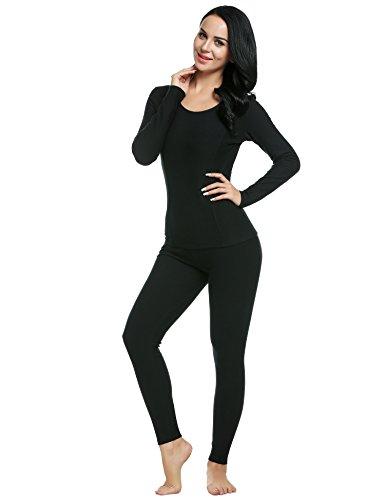 Ekouaer Women's Thermal Long Johns Underwear Base Layer Set Top&Bottom(Black,Small)