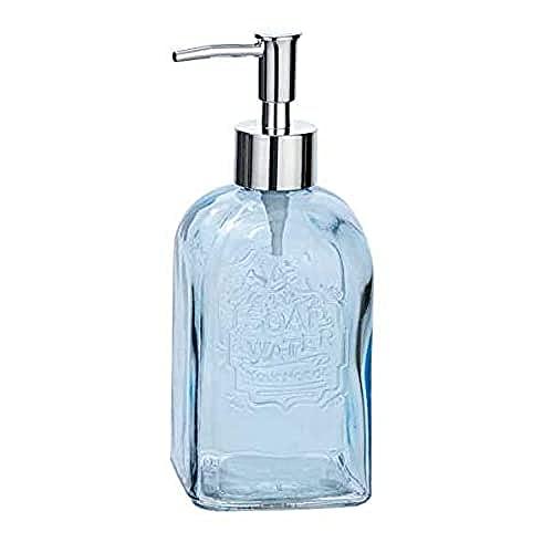 WENKO Dosificador de jabón Vetro angular azul - Dispensador de jabón líquido Capacidad: 0.5 l, Vidrio, 7.5 x 19 x 7.5 cm, Azul