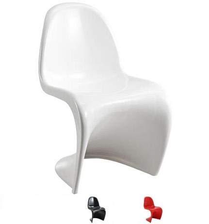 Stuhl Design Chair weiß schwarz rot glänzend