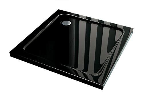 Douchebak/bodem 80 x 80 cm diepte 50 mm extra vlak rechthoekig zwart
