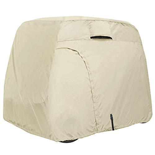 Explore Land 600D Waterproof Golf Cart Cover Fits for Most Brand 4 Passengers Golf Cart (Light Tan)