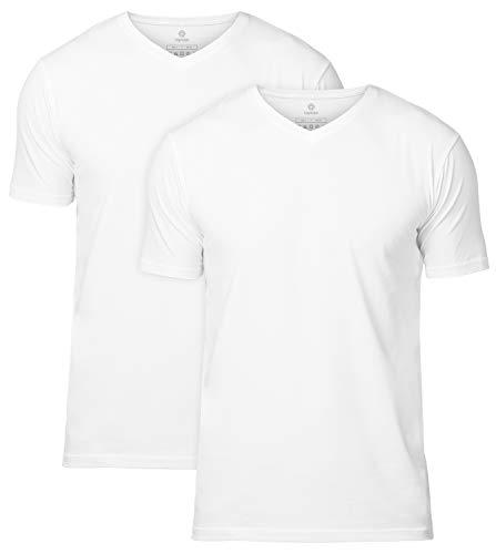 LAPASA Pack de 2 Camisetas para Hombre de Algodón ELS Manga Corta (S, Blanco2 (Cuello Pico V))