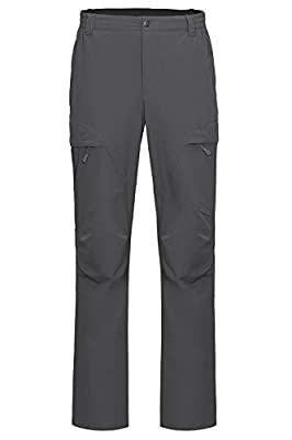 Libin Men's Quick Dry Hiking Pants Lightweight Fishing Pants Stretch Cargo Work Pants, UPF 50, Water Resistant, Grey M