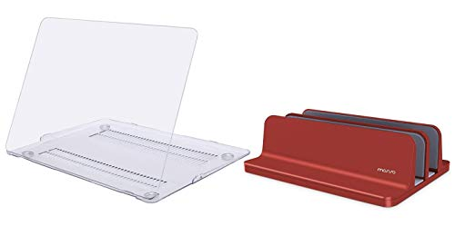 MOSISO MacBook Air 13 inch Case 2010-2017 Release A1369 A1466 Plastic Hard Shell Case Cover & Laptop Stand Holder, Vertical Aluminum Alloy Desk Holder Portable Dual Slot Adjustable Dock Stable Stander