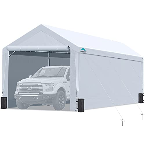 12x20 ft Extra Large Heavy Duty Carport with Sidewalls and Doors, Adjustable Height from 9.5 ft to 11 ft, Car Canopy Garage Party Tent Boat Shelter with 8 Reinforced Poles and 4 Sandbags, White