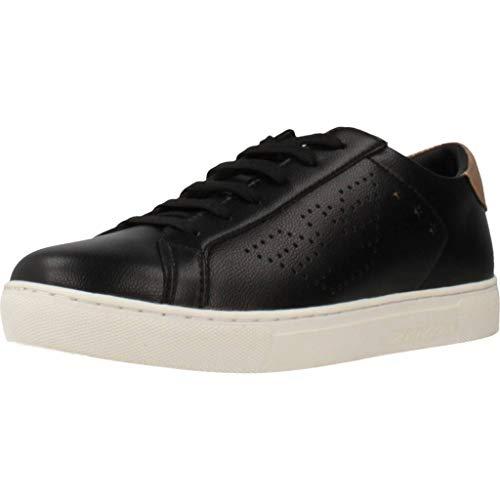 Emporio Armani Damen Low Top Fashion Sneaker Turnschuh, Black+Nude, 40 EU
